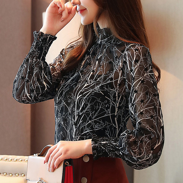 2019 Autumn Fashion Women Chiffon Blouses Casual Stand Collar Floral Women Clothing Long Sleeve Printed shirt Women Tops 6197 50 6