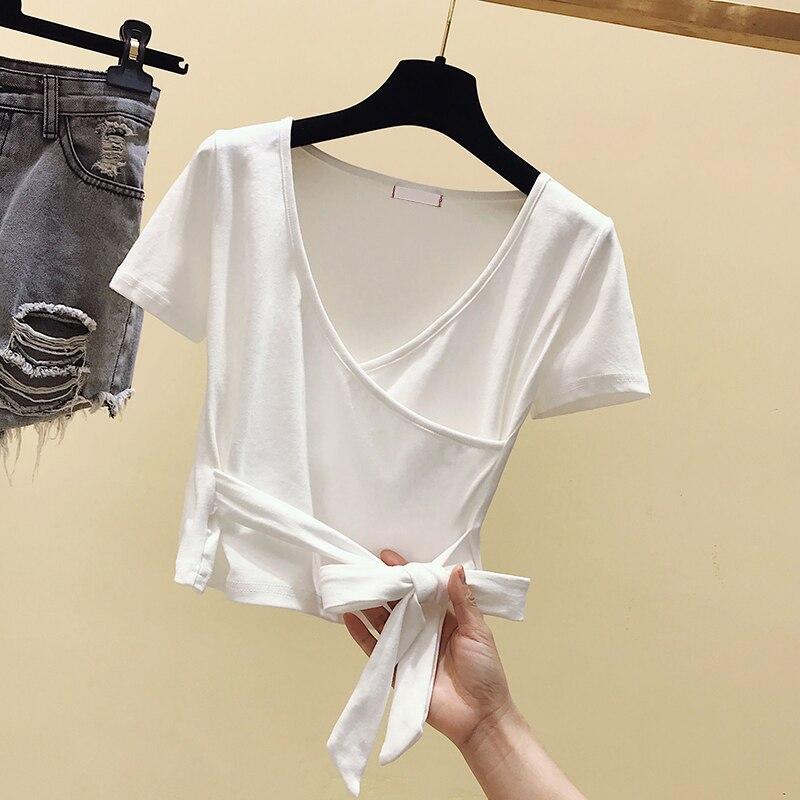 Женская футболка gkfnmt, белая Винтажная футболка с коротким рукавом и вышивкой, на лето, 2019