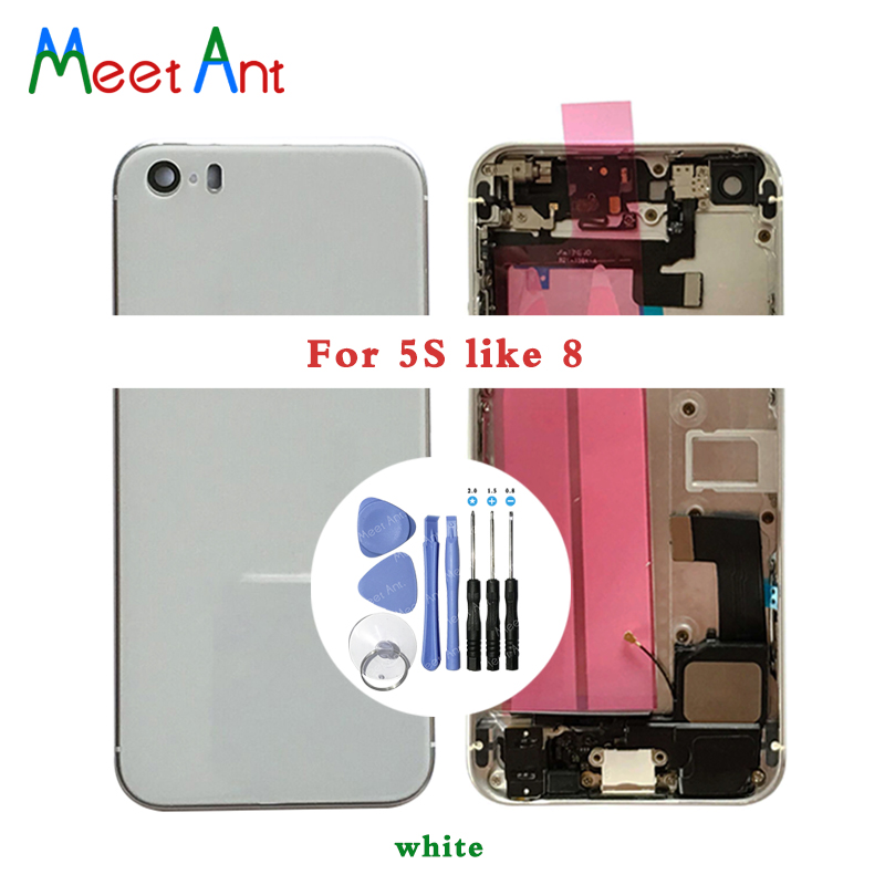 New For iphone 5 5S SE like 8 Style Back Middle Frame Chassis Full Housing Assembly Battery Cover Door Rear with Flex Cable