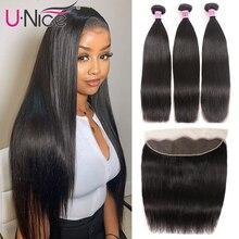 UNice שיער תחרה פרונטאלית סגר עם חבילות 3/4PCS פרואני ישר שיער טבעי רמי צרור עם 13X4 פרונטאלית
