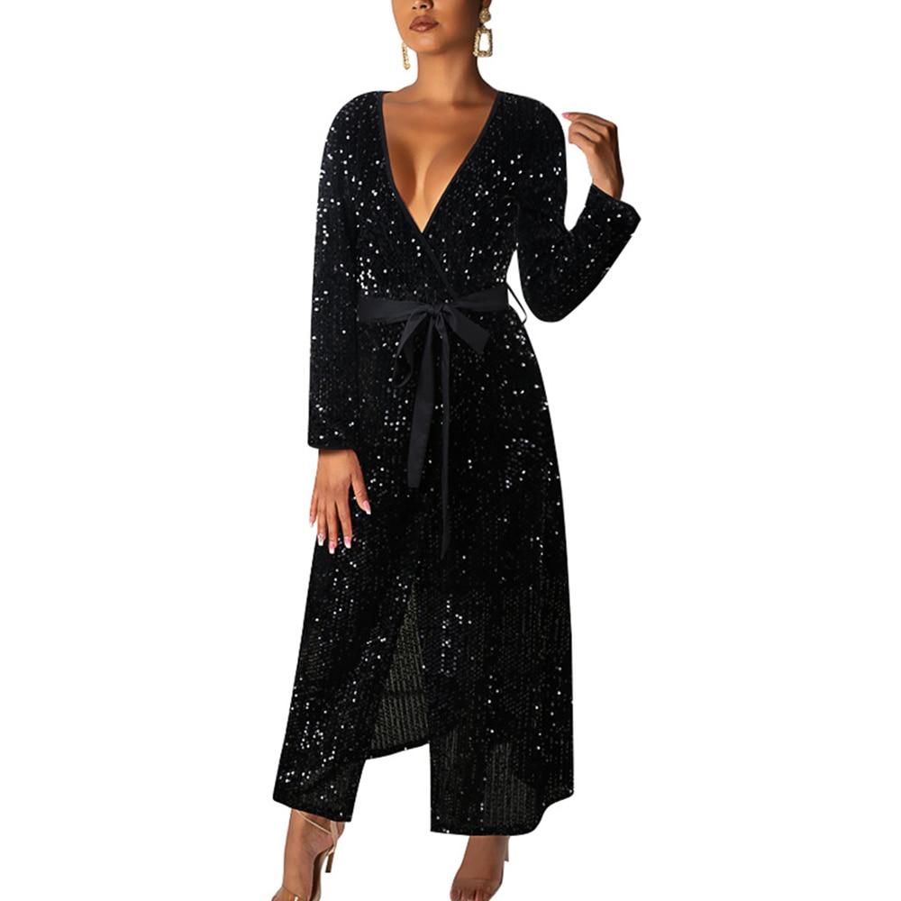 BIUBIU Sexy soirée robe de soirée 2019 automne à manches longues Sequin paillettes brillante robe Wrap Club femmes robe noir Vestidos Long