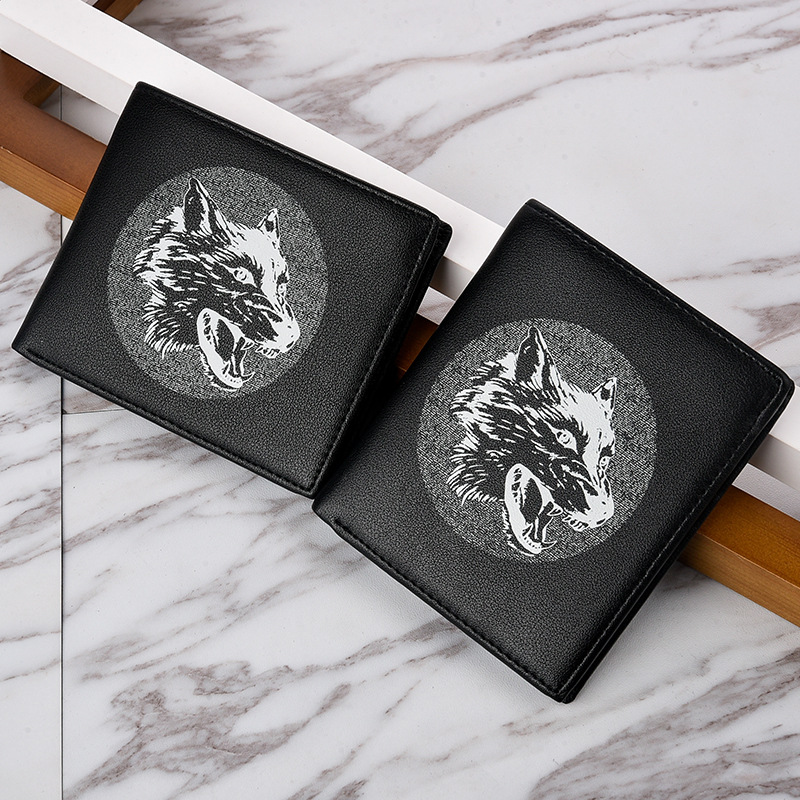 Man's wallet Short Vintage Leather Brand Wolf head cool student Luxury Slim Male Purses Money Clip Credit Card Dollar Price 721 image