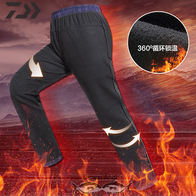 Daiwa Waterproof Fishing Pants Men Winter Spring Thermal Solid Fishing Clothing Hiking Outdoor Clothes Zipper Pocket Fleece Pant