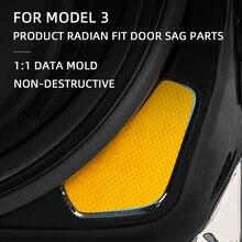 4 PCSสำหรับTesla Model3ประตูรถสะท้อนแสงสติกเกอร์แถบสะท้อนแสงกันน้ำNight Driving SafetyแสงLuminous