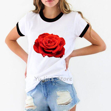 ropa mujer 2019 vogue t shirt women red rose flower print t-shirt poleras mujer harajuku shirt tumblr tops tee shirt femme flower cluster print slub t shirt
