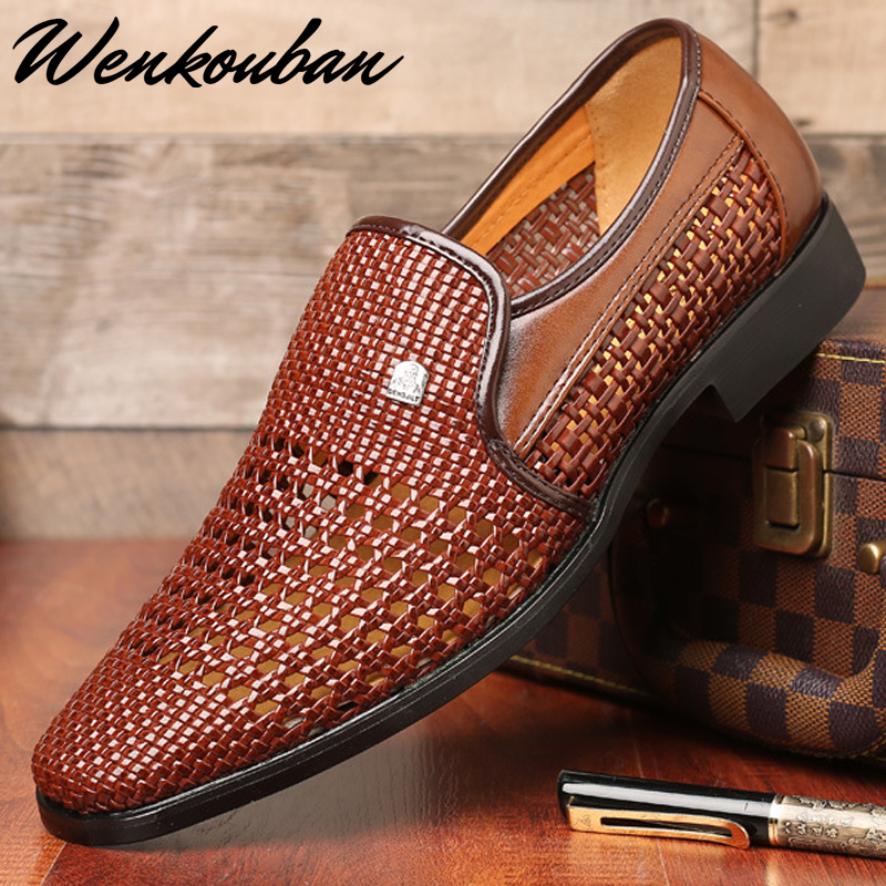 Men Leather Sandals Summer Casual Shoes Men Slip-on Falts Shoes Male Loafers Hole Shoes Weave Shoes Zapatos De Hombre