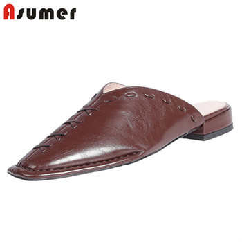ASUMER 2020 hot sale genuine leather shoes women slipper square toe fashion brand shoes spring summer low heels slipper woman