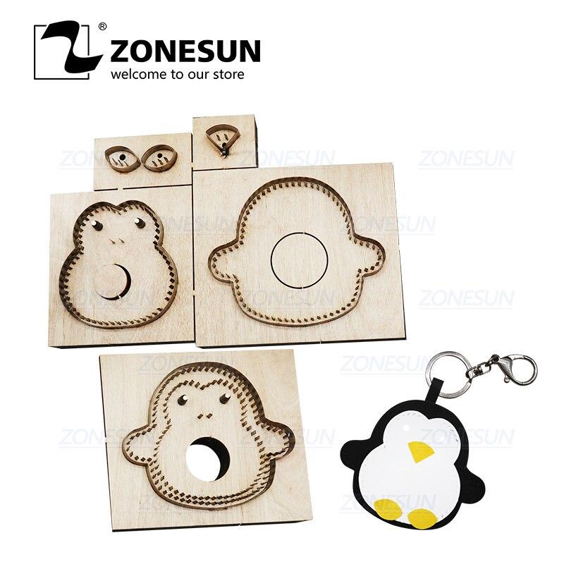 ZONESUN Custom Pig Leather Key Chain Die Cuts For Handmade Key Ring DIY Hang Decoration Cutting Clicker Die Steel Rule Die