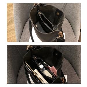 Image 4 - Brand Design Women Bucket PU Leather Shoulder Bag Large Capacity Lady Crossbody Bags Wide Strap Female Solid Color Totes Handbag