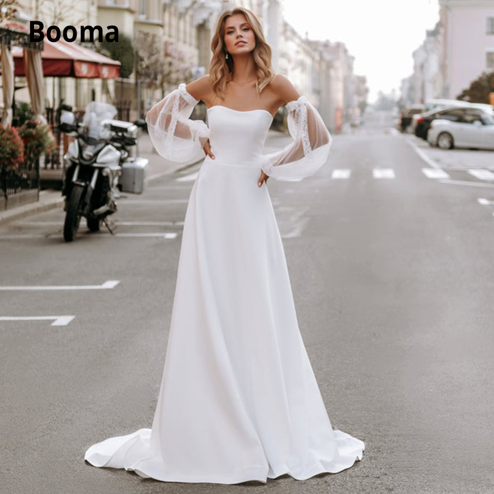 Booma Satin Wedding Dresses 2019 Detachable Train Long Sleeve Bridal Gown White Ivory Wedding Gown Open Back Court Train