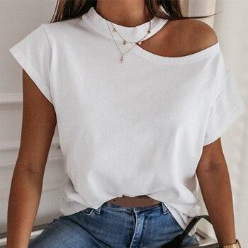 Camiseta para chicas sin hombros de manga corta blanco sólido negro señoras camisetas Halter 2020 verano moda Casual camisetas Tops mujeres