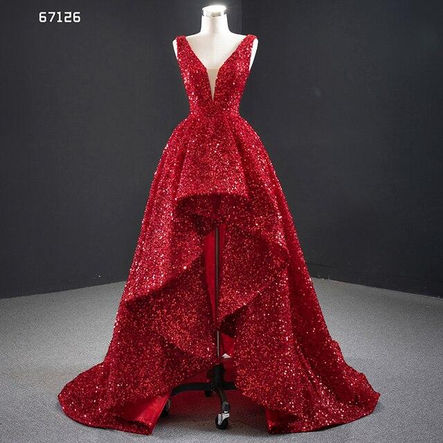 J67126 JANCEMBER Evening Dresses V Neck Sleeve Lace Up Back Short Before Long Shining Sequins Cuort Train Sexy Vestidos Formales