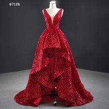 J67126 JANCEMBER ערב שמלות V צוואר שרוול תחרה עד בחזרה קצר לפני ארוך הניצוץ פאייטים Cuort רכבת סקסי Vestidos Formales