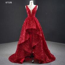 J67126 janceber вечерние платья с v образным вырезом и рукавами на шнуровке сзади Короткие Блестящие Блестки с коротким шлейфом сексуальные платья Formales