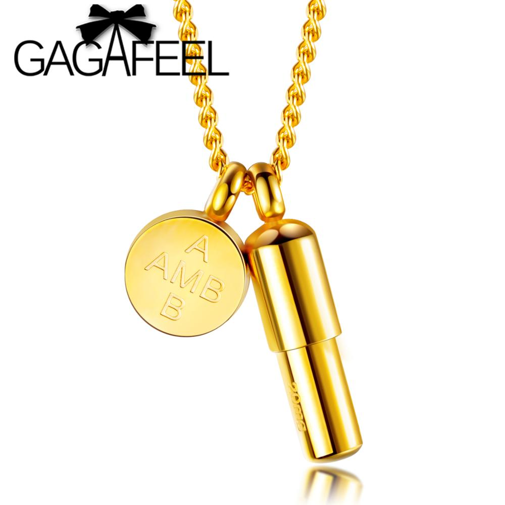 GAGAFEEL Gold Openable Pill Necklace Engrave Logo Stainless Steel Cylinder  Round Tag Pendant Necklace Capsule Locket Necklaces