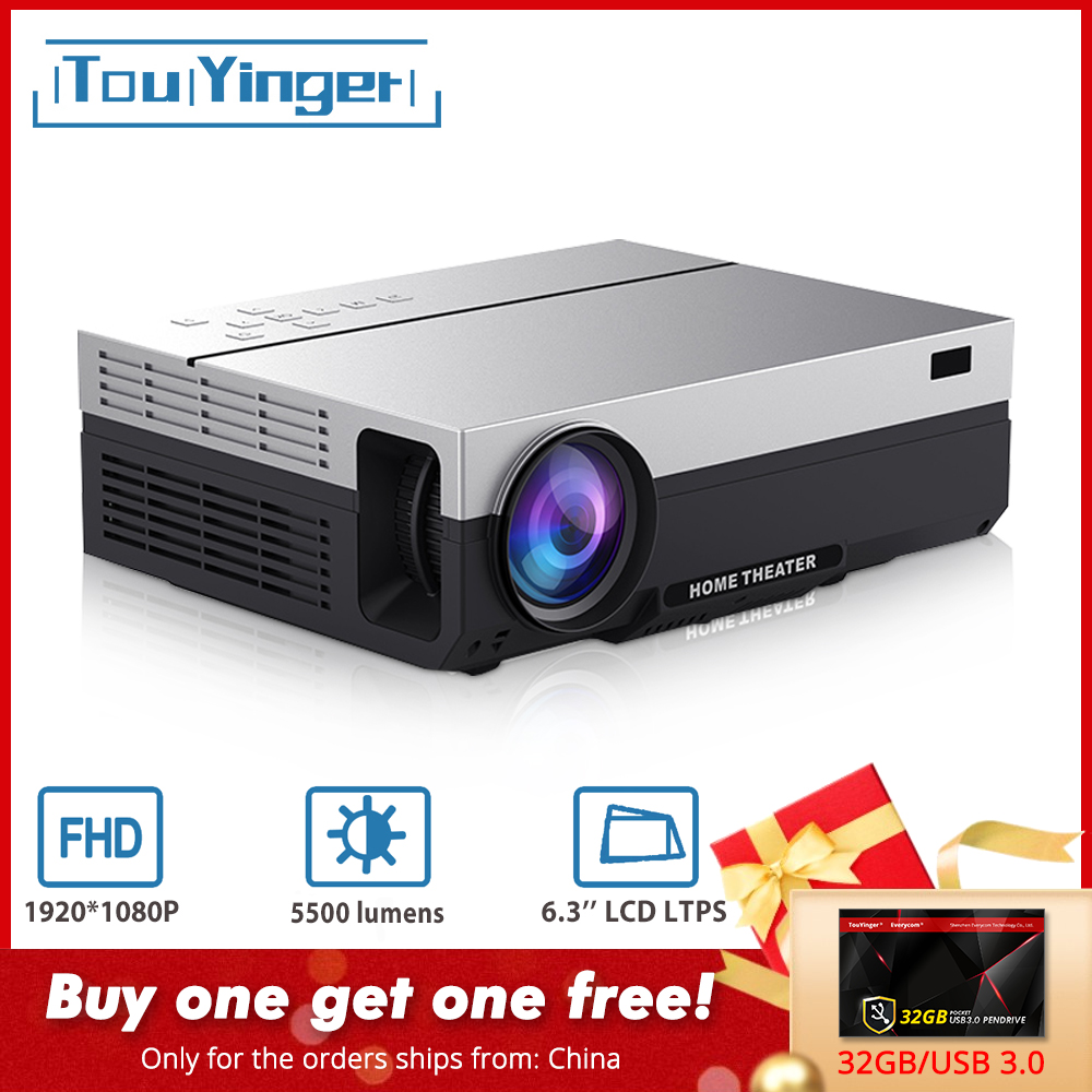 Touyinger T26L T26K 1080p LED Full HD Projector Video Beamer 5500 Lumen FHD 3D Home Cinema HDMI ( Android 9.0 Wifi AC3 Optional)