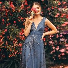 섹시한 댄스 파티 드레스 이제까지 예쁜 딥 v 넥 민소매 a 라인 저렴한 여성 공식 파티 드레스 Estidos De Fiesta De Noche 2020