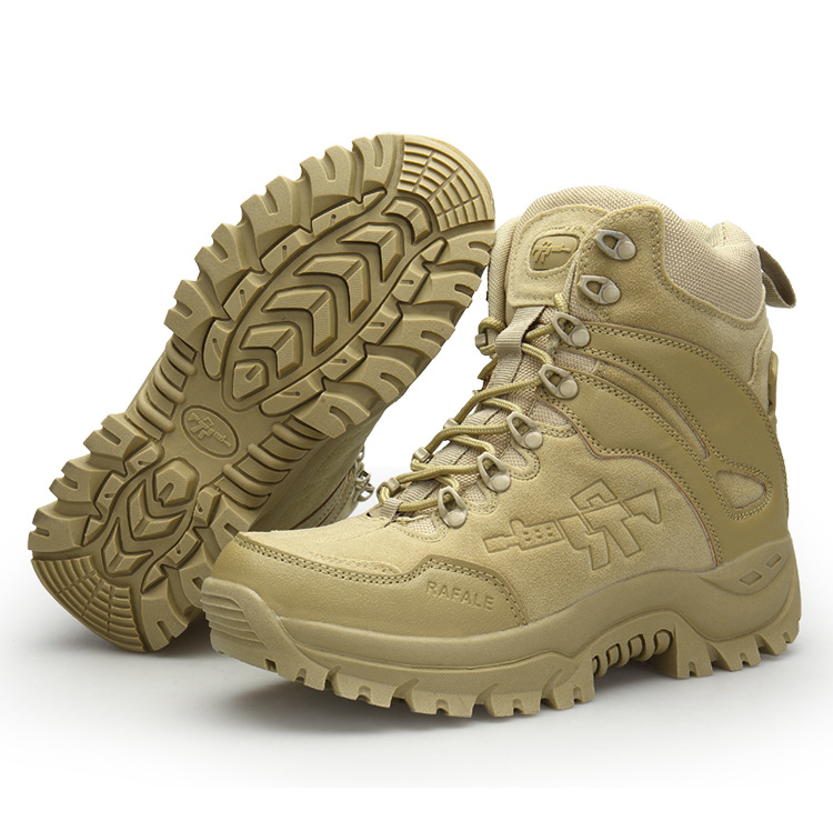 Mens Genuine Leather Military Boots Special Forces Desert Combat Tactics High Top Army Boots With Side Zipper For Men Work Shoes