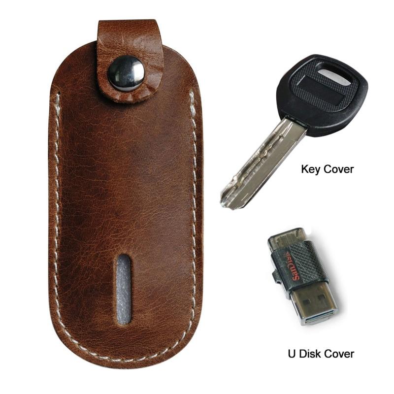 Genuine Leather U Disk Holder Case U Shape Leather Car Key Holder Case