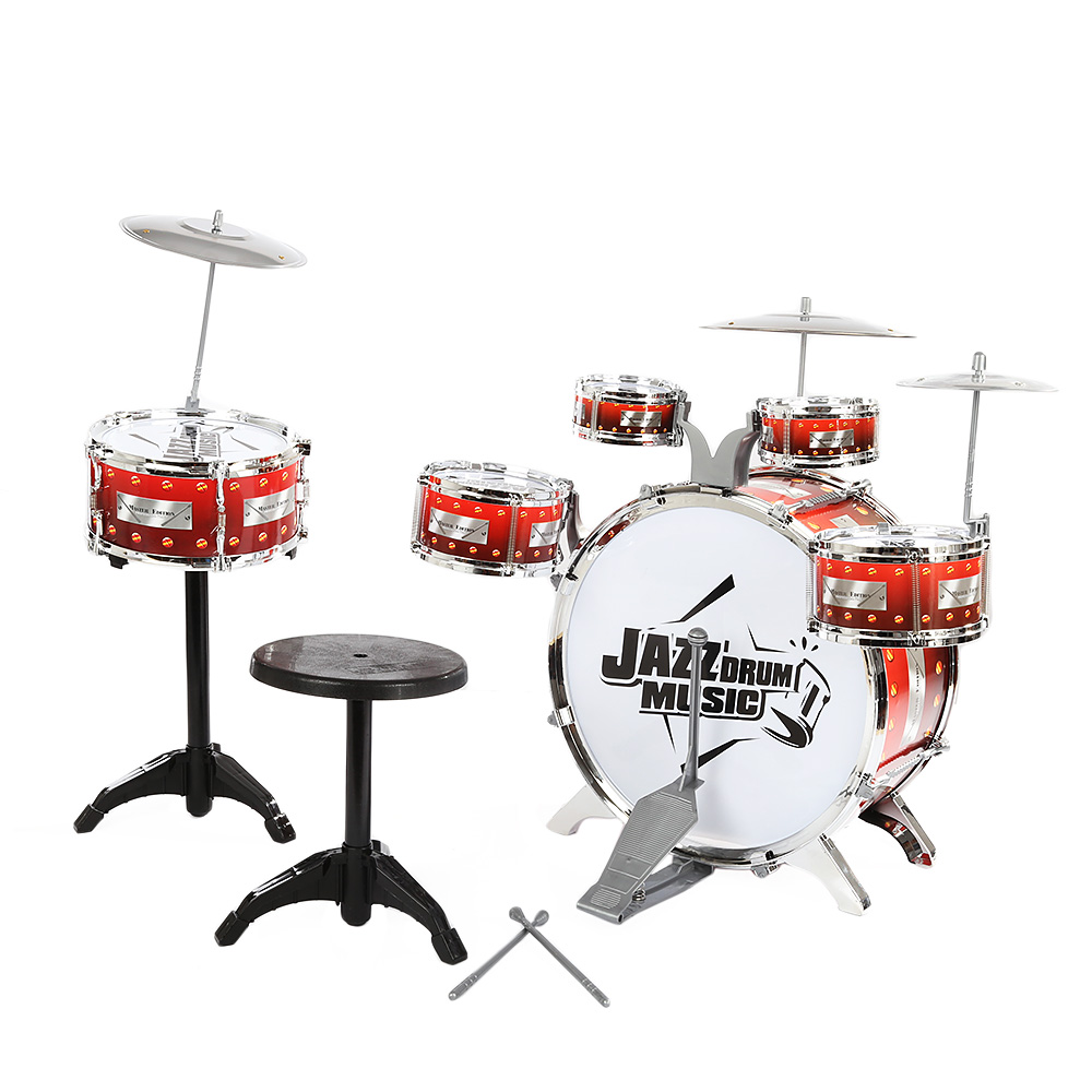 Children Drum Musical Toy Instruments with Cymbals Stool Play Game Music Interest Development For Kids Christmas Birthday Gift - 4