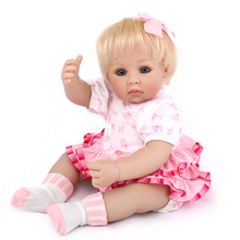 20 inches beautiful little princess Doll Reborn Babies 3/4 Silicone short hair Baby with real baby clothes Toys For Girl gift