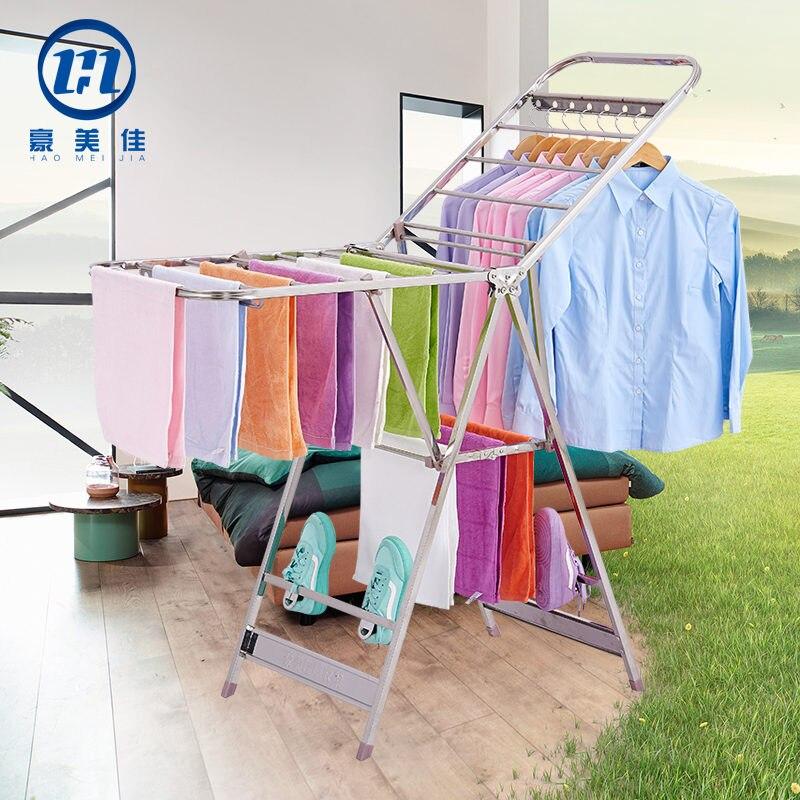 Edelstahl Kleidung Trocknen Rack, Innen Kleidung Trocknen Rack, Balkon, Kleiderbügel, Einfache Kleidung Trocknen Towe - 2