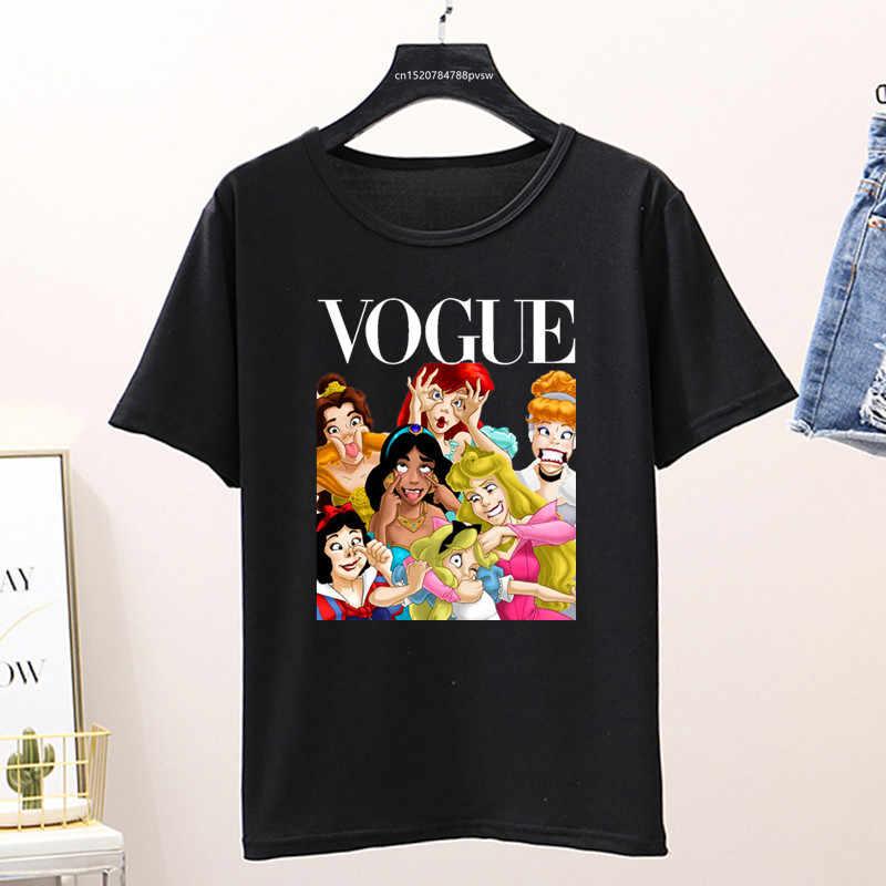 Wanita 2020 Musim Panas Tee Shirt Femme Lucu Putri Vogue Harajuku T Shirt Korea Atasan Kawaii Streetwear Camiseta Mujer