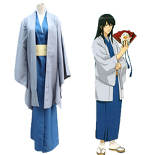 купить Anime Gintama Cosplay Costumes Katsura Kotarou Cosplay Costume Kimono Halloween Party Game Silver Soul Cosplay Costumes Unisex дешево