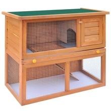 VidaXL 1 Door Rabbit Hutch Chicken Coop Cage Guinea Pig Ferret House W/ 2 Storeys Run Large Outdoor Household Cage Pets House