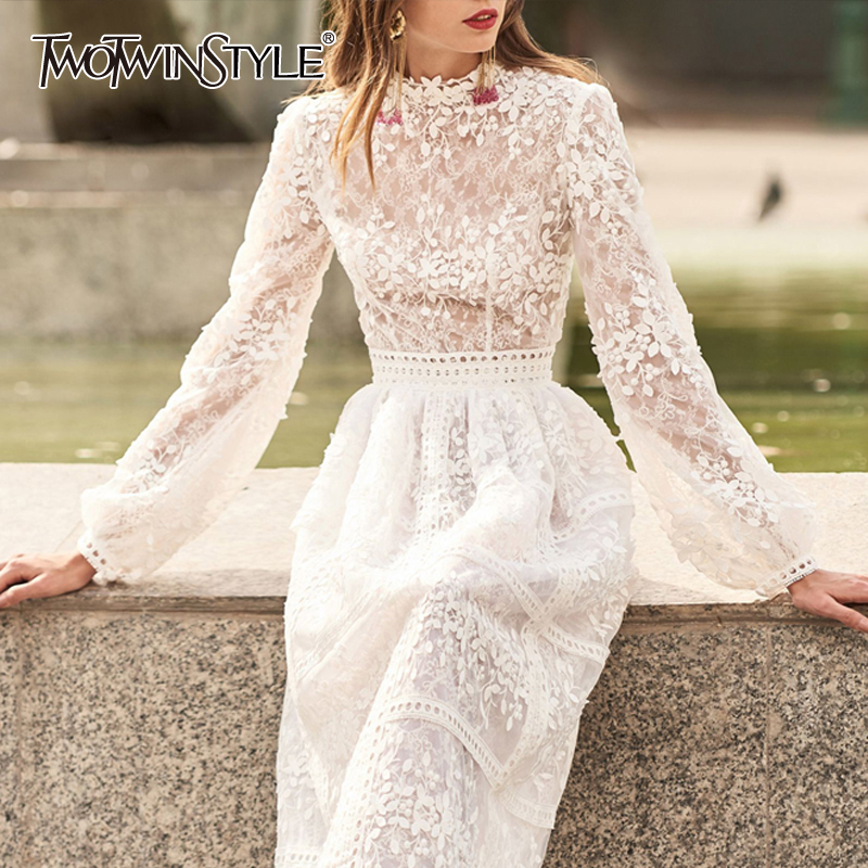 TWOTWINSTYLE Patchwork Hollow Out Embroidery Dress For Women High Waist Lantern Sleeve Perspective Midi Dresses Female 2020 New
