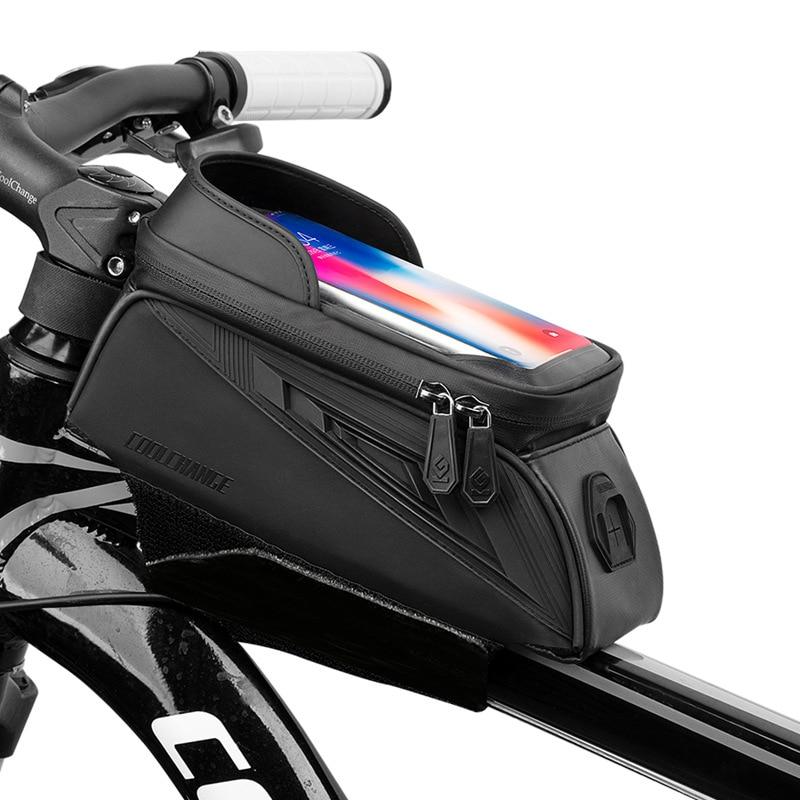 CoolChange 6.5 Inch Waterproof Bicycle Bag Phone Bike Bag Front Touch Screen Mountain Bike MTB Tube Bags with Headphone Plug