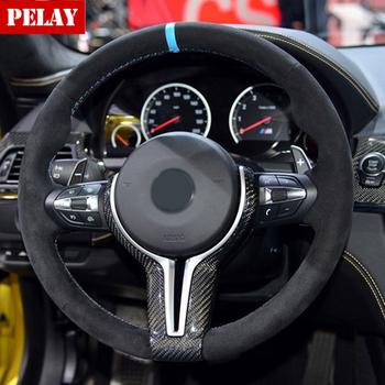 100 prawdziwe carbon kierownica z włókna pokrowiec na BMW M2 F87 M3 F80 M4 F82 M6 F06 F12 F13 X5M F85 X6M F86 oryginalny wysokiej jakości tanie i dobre opinie Runningsheen CN (pochodzenie) Dla leworęcznych Sliver Blue Red carbon fiber China