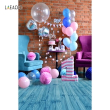 Laeacco Brick Wall Blue Wooden Floor Balloons 1st Birthday Baby Photography Backgrounds For Photo Studio Vinyl Custom Backdrops