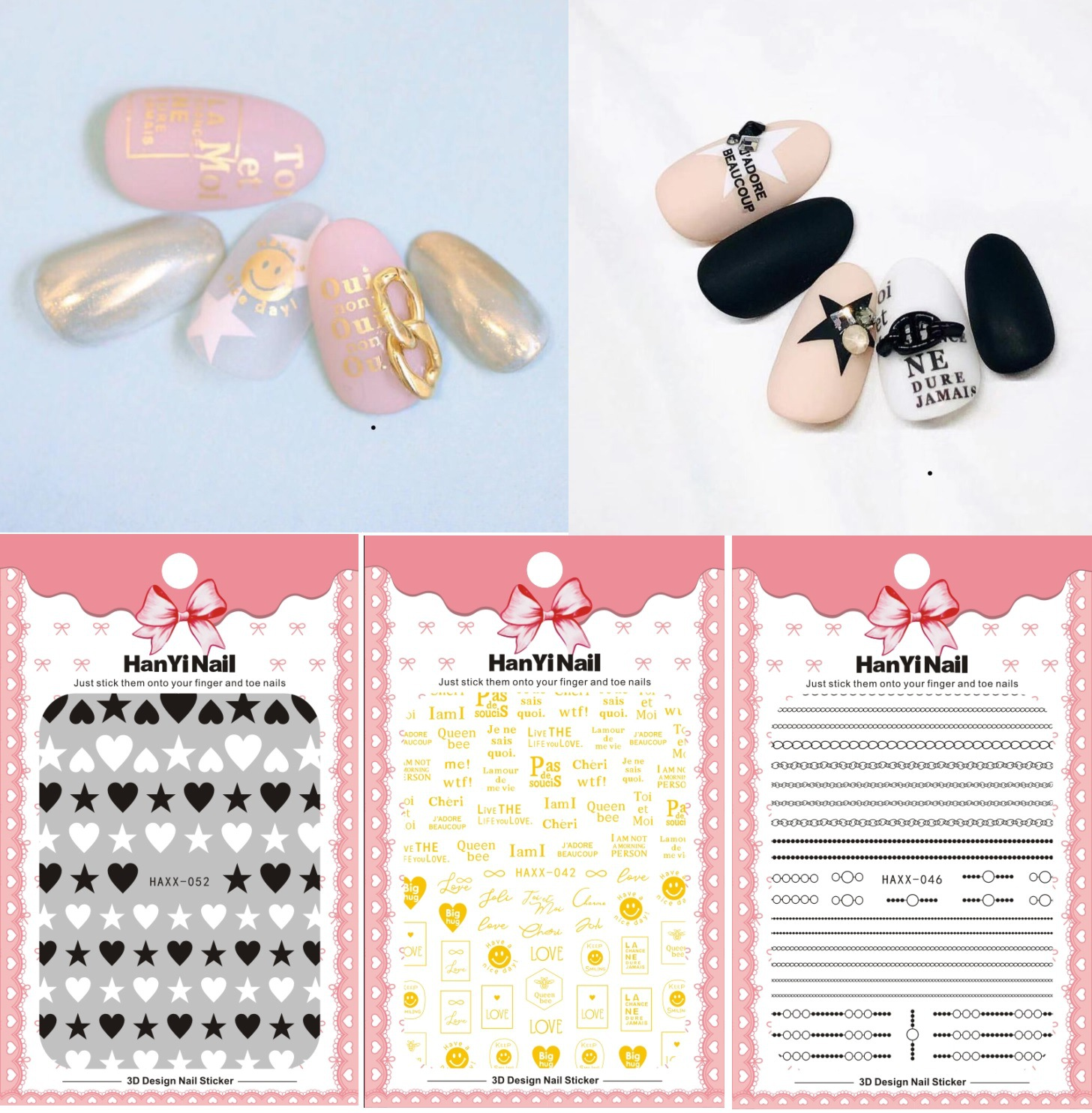 Japanese-style Official Website Celebrity Style 3D Nail Decals With Gum Nail Sticker Polka Dot Heart Haxx40-53