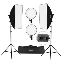 Andoer estudio de fotografía Softbox Kit de luz LED que incluye Softboxes 45W temperatura bicolor regulable luces LED bolsa de transporte de soporte