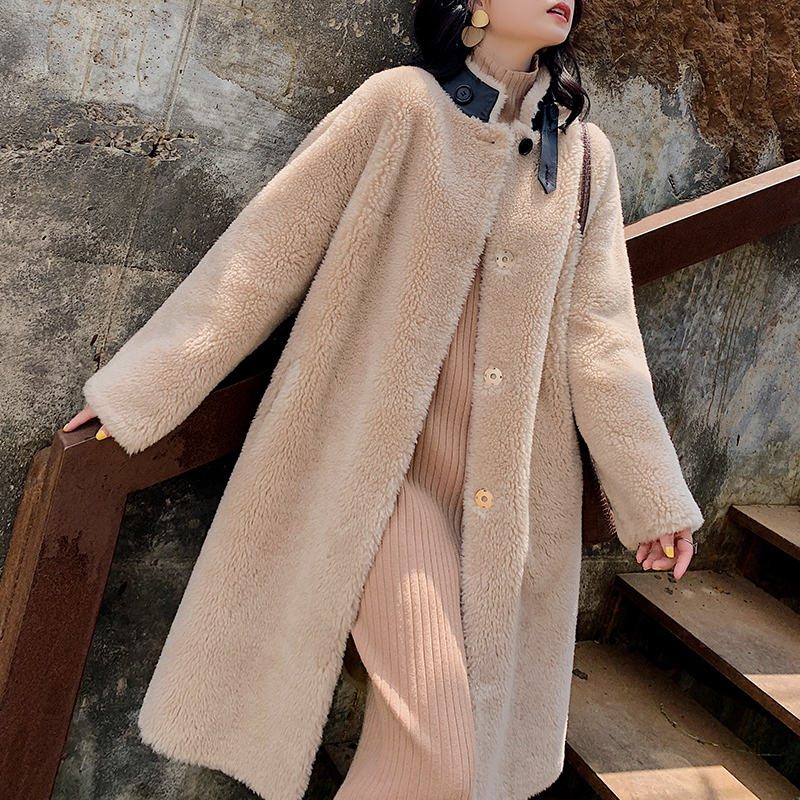 Real Fur Coat Sheep Shearling Fur 100% Wool Jacket Autumn Winter Coat Women Clothes 2020 Korean Streetwear Suede Lining ZT3499