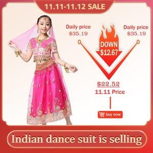 Image 1 - Conjunto de traje de dança do ventre infantil, conjunto de dança do ventre, sari indiana, roupa de chiffon, halloween, top, saia, tiara