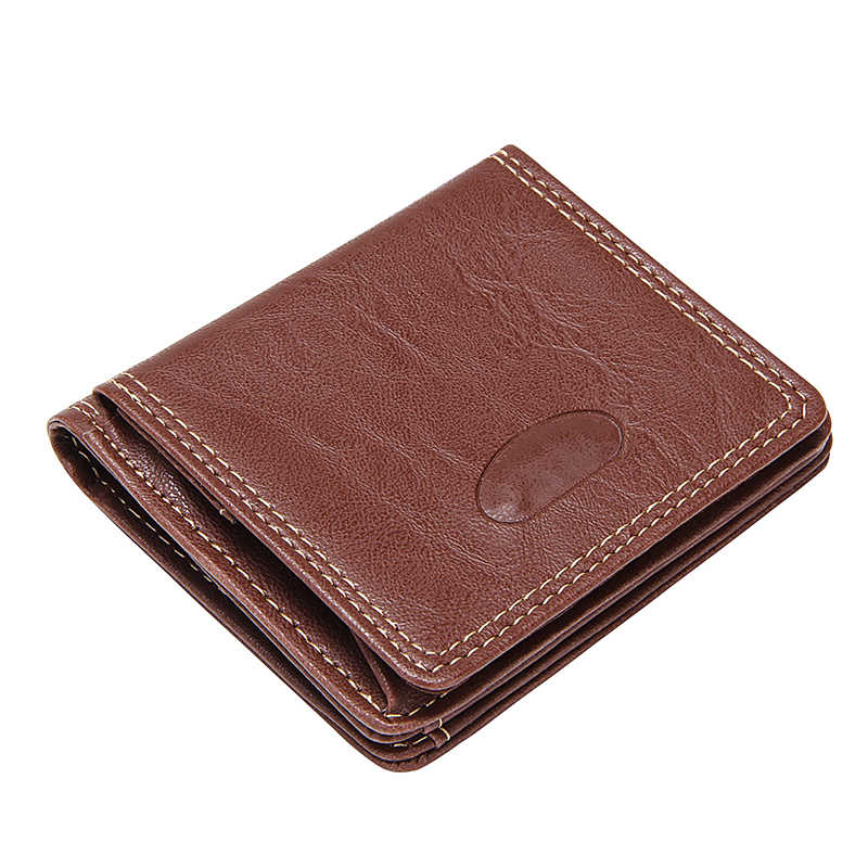 Business Short Wallets for Men Leather Coin Pockets Big Capacity Slim 2 folds Band ID Card Case Clutch Wallet Small Coin Purse