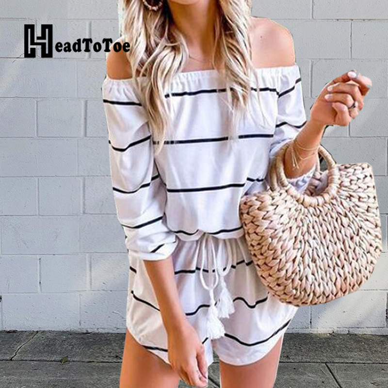 Women Striped Rompers Playsuits Casual Summer One Piece Overalls