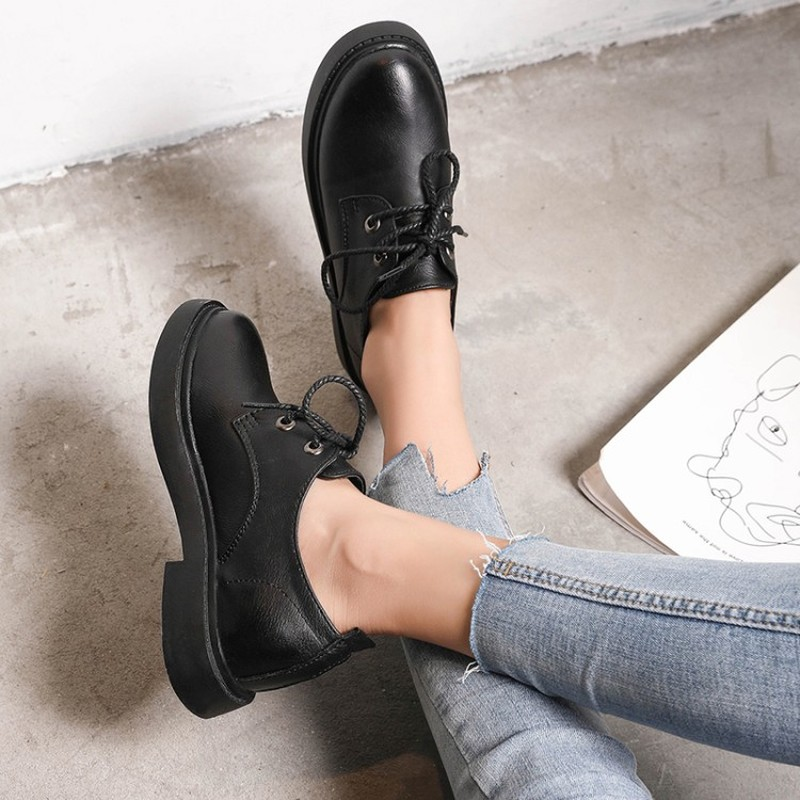 Autumn Spring New High Quality Women's Soft Leather Mature Office Female Shoes Lace Up Wear-resisting Simple Leisure Z15-76