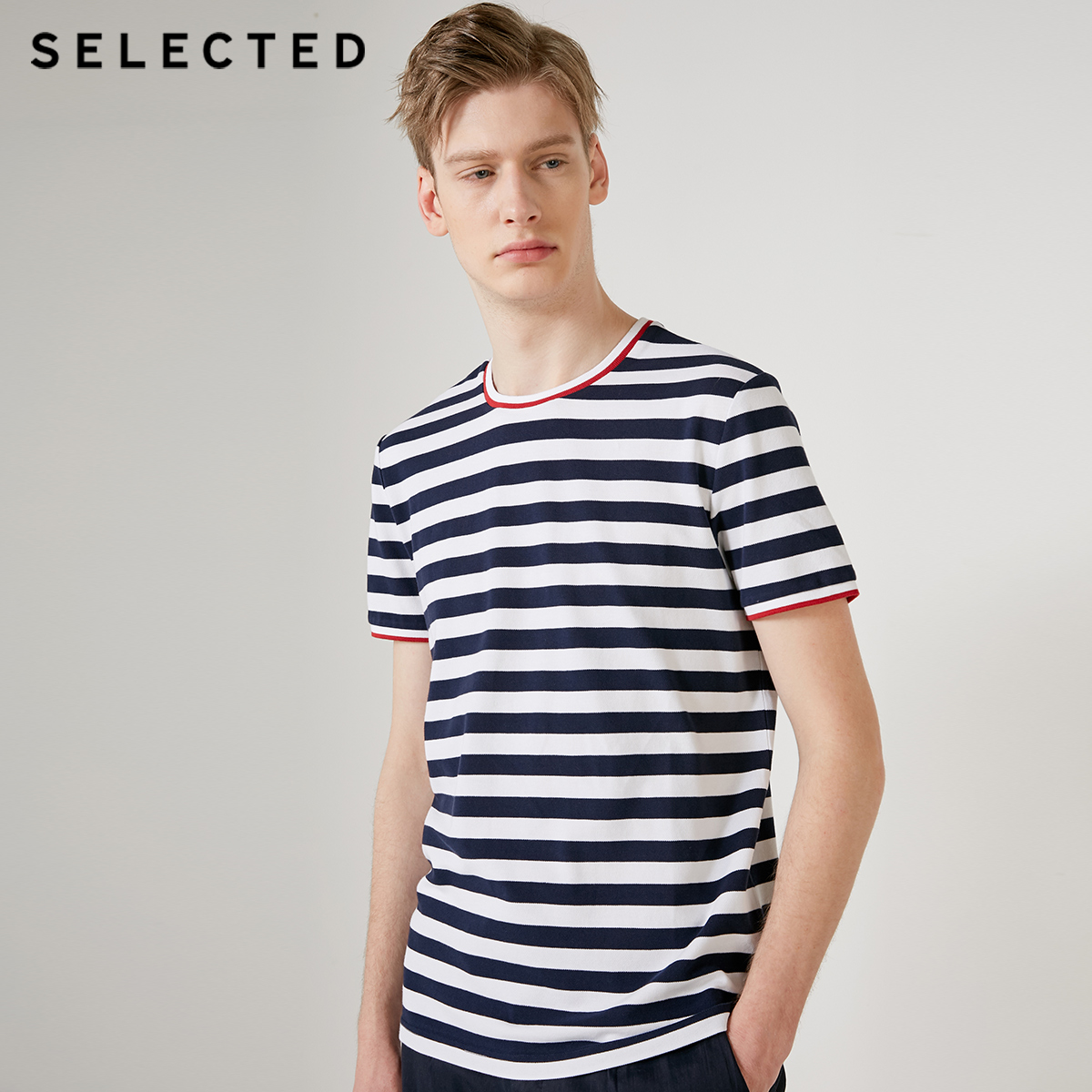 SELECTED Men's Cotton Round Neckline Striped Short-sleeved T-shirt S|419201624