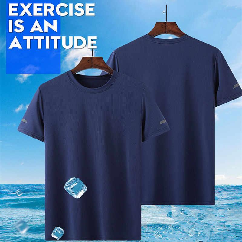PLUS ขนาด 8XL ผู้ชายเสื้อยืด Quick แห้ง Breathable กีฬาสบายๆกลางแจ้งเดินป่าตกปลาตั้งแคมป์ปีนเขาเสื้อยืด