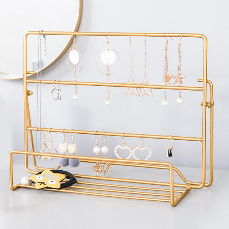 Jewellery Organizer Display Stand Rack, Earrings Ear Studs Display Metal Stand Type Necklace Organizer Holder