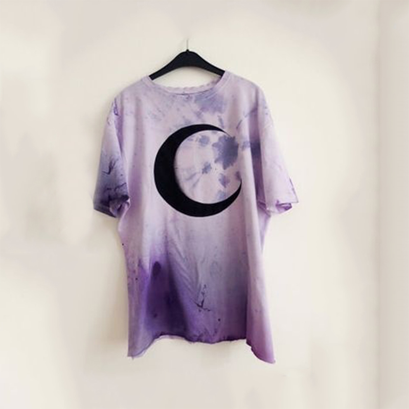 Imily Bela Gothic T-shirt Women Casual Loose Short Sleeve Moon Print T Shirt O-neck Plus Size Purple Tshirt Summer Streetwear(China)