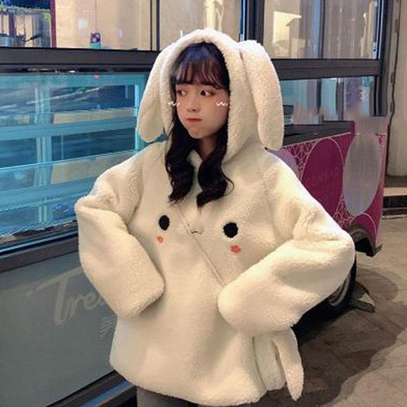 Kawaii feminino hoodies pulôver menina inverno solto fofo rubbit orelha hoodie com capuz jaqueta quente outerwear casaco bonito moletom meninas