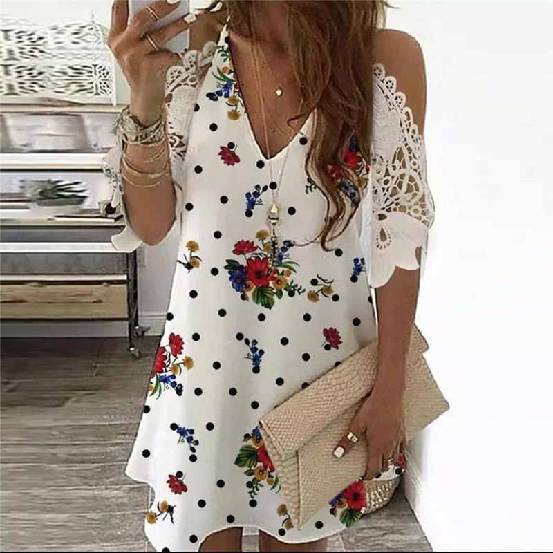 Summer Vintage Floral Printed Dresses Women Casual Off Shoulder Half Sleeves Lace Dress Hollow Out V-Neck Sling Party Dresses 9
