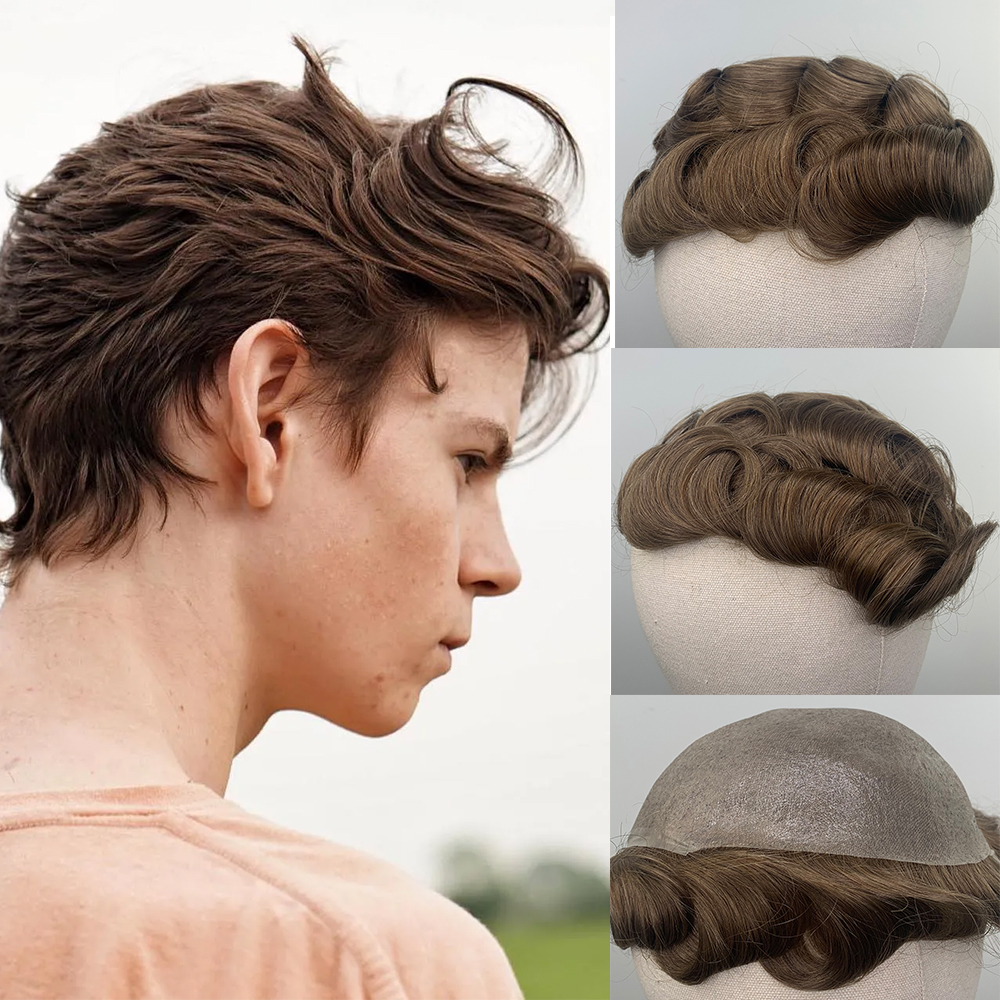 YY Wigs #30R Brown Men Toupee Skin PU Soft Thin PU 30MM Remy Free Parting Human Hair Wigs For Man Replacement System Hairpiece