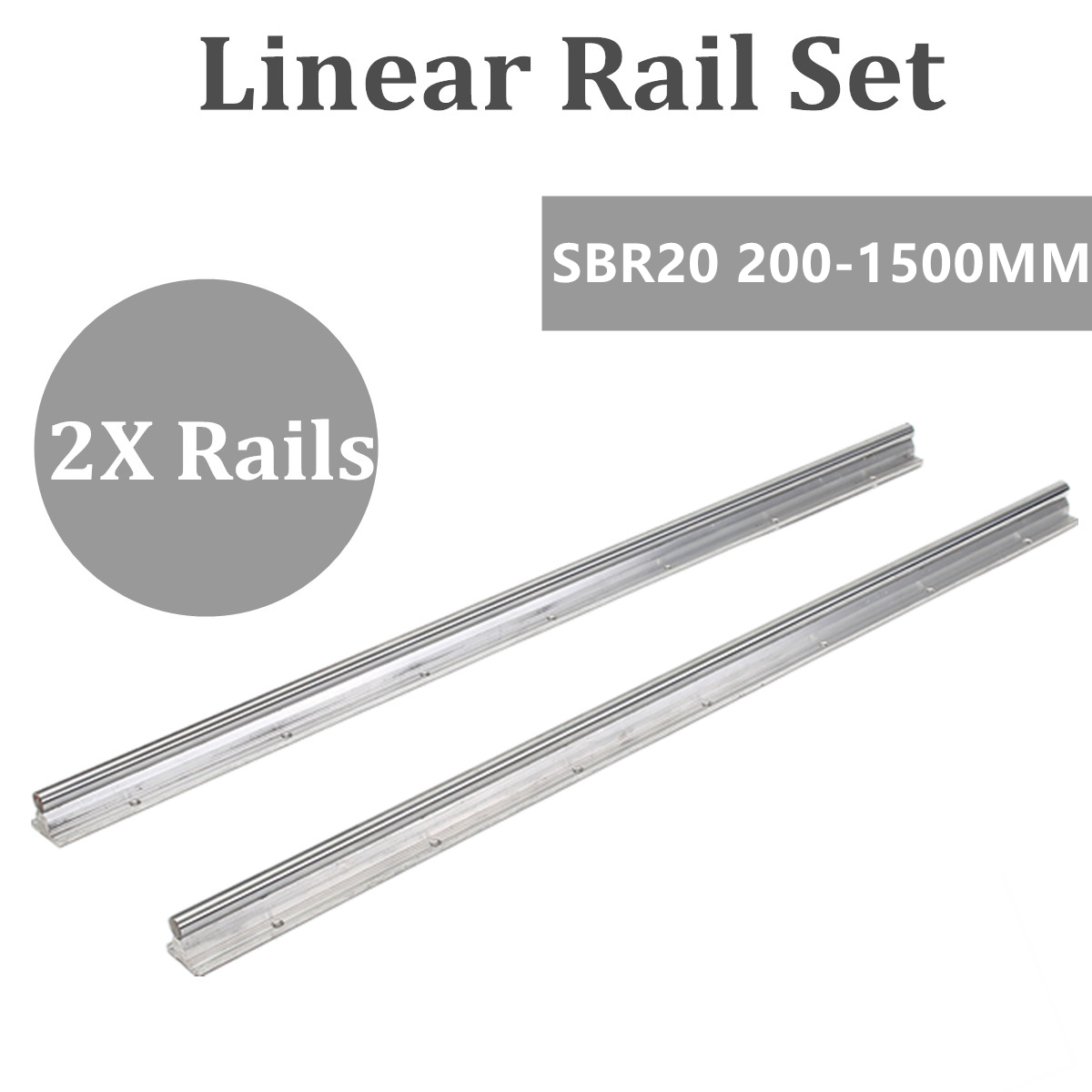 2pcs Bearing Linear Supported Rail SBR20mm - 200 300 400 500 600 800 1000 1500 Mm Linear Guide Rail Shaft Rod CNC Rounter