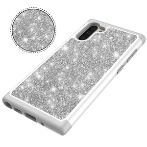 Image 2 - Glitter Telefon Fällen für Samsung Galaxy Note10 Note10 Plus Note10 Pro Fall Luxus Bling Dual Layer Hybrid Harte PC TPU funda Coque