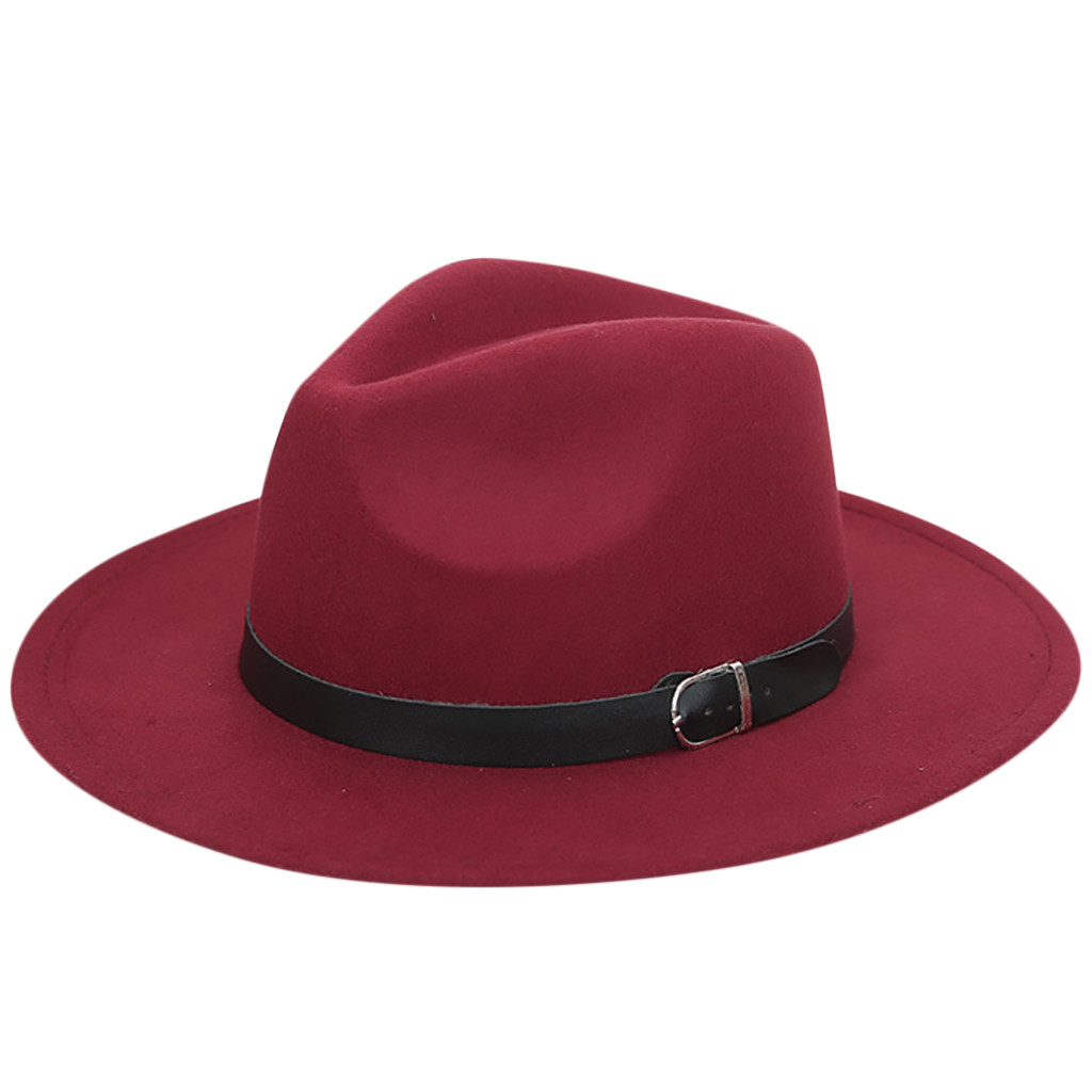 Cap Belt Panama-Hat Outback-Caps Wool Felt Wide-Brim Men's Women Summer With And Unisex